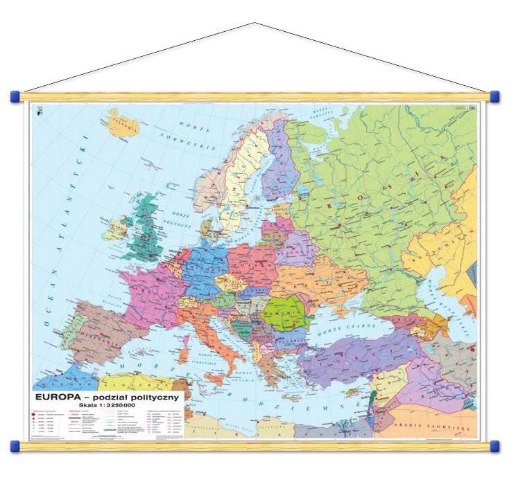 Europa Mapa Polityczna Rozmieszczenie Ludnosci