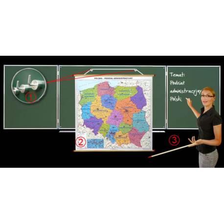Dwustronna mapa fiz.- admin. Polski + wieszak