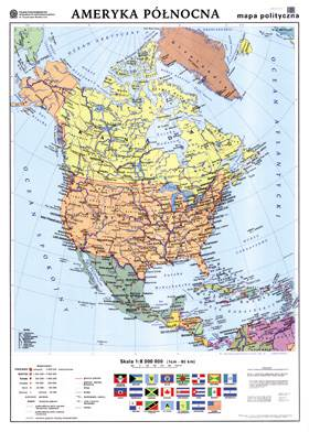Ameryka Polnocna Mapa Polityczna Konturowa