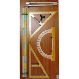 Przybory tablicowe drewniane MAGNETYCZNE + wskaźni
