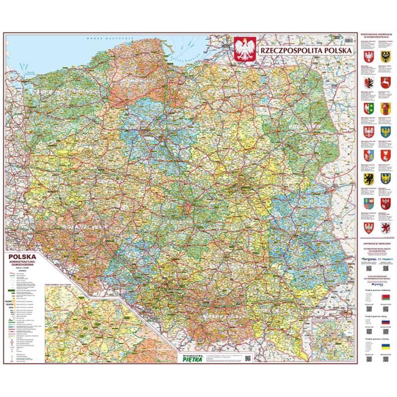 Mapa Scienna Polski Administracyjno Samochodowa