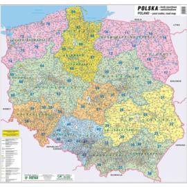 MAPA ŚCIENNA POLSKI – KODÓW POCZTOWYCH 1:750 000