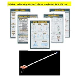 FIZYKA -  rabatowy zestaw 5 plansz + wskaźnik PCV