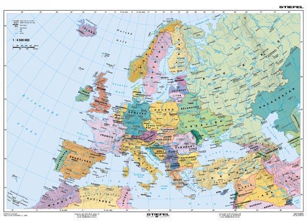 Europa Mapa Fizyczna Polityczna 160 X120 Cm