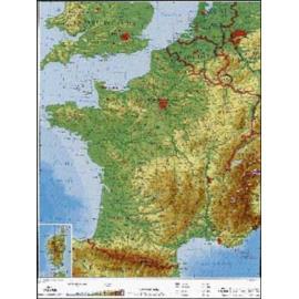Francja - mapa fizyczna - j. francuski 120x160 cm
