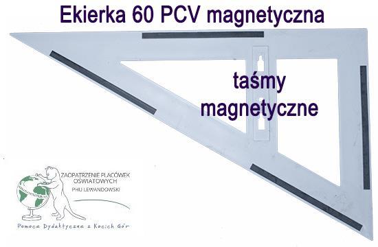 Ekierka trójkąt tablicowy 60 biały magnetyczny