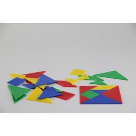Tangram dla ucznia w 4 kolorach zestaw 28 części