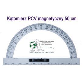 Kątomierz 180 biały PCV tablicowy magnetyczny