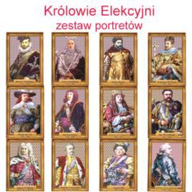 Zestaw portretów Królowie Elekcyjni w antyramie