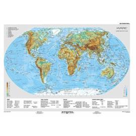 Świat - mapa fizyczna / polityczna 160 x120 cm