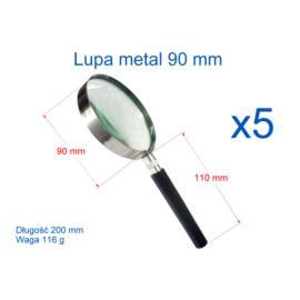 Lupa 90 mm z rączką w metalowej obejmie