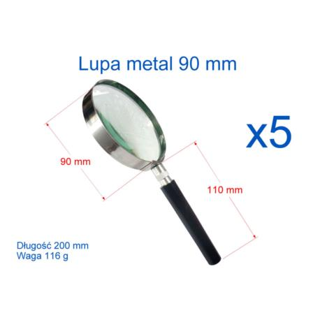 Lupa 90 mm z rączką metalowa