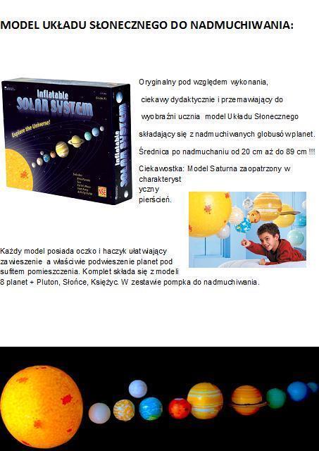 Układ słoneczny - model do nadmuchiwania